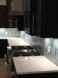 Blue Backsplash Kitchen Blue Tile Backsplash With White Quartz Counter Tops Backsplash