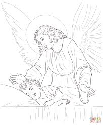 guardian angel over sleeping child coloring page free printable