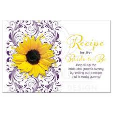 bridal shower recipe card sunflower purple floral