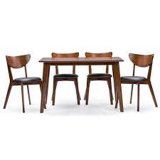Five Piece Dining Room Sets Baxton Studio Sumner Mid Century Style Walnut Brown 5 Piece Dining