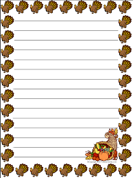 Paper With Writing Turkey Writing Paper Printables
