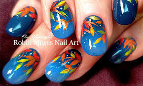 Robin Moses Nail Art by Diy Fall Leaves Nail Art Easy Autumn Nails Design Tutorial Youtube