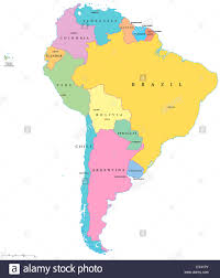 Map Of America With States by Political Map Of South America With Single States Capitals And
