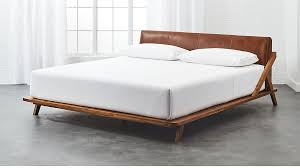 drommen acacia king bed with leather headboard cb2