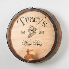 personalized oak wine barrel top sign wine enthusiast