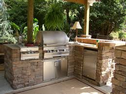 rustic outdoor kitchen ideas brown wood kitchen cabinet grey high