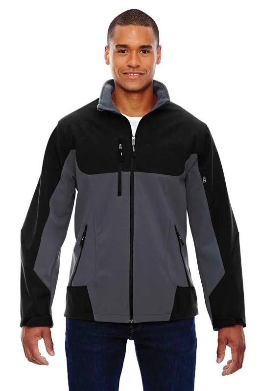 North End 88156 Compass Colorblock Three-Layer Fleece Bonded Soft Shell Jacket in Fossil Grey