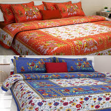 Cheap King Size Bed Sheets Online India Uniqchoice Set Of 2 Rajasthani King Size Cotton Bedsheets With 4