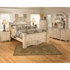 Ashley Shay King Poster Bedroom Set In Black Finish Creditrestoreus - 7 piece king bedroom furniture sets