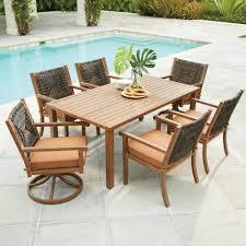 Resin Wicker Patio Furniture Sets - hampton bay tacana 7 piece wicker outdoor dining set with beige