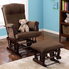 Rocking Recliner Nursery Baby Relax Glider Rocker And Ottoman Espresso With Gray Cushions