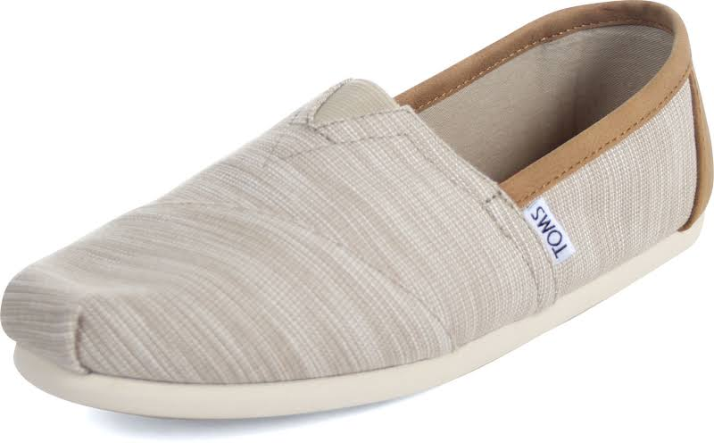 Toms Classic Chambray Oxford Tan Trim Ankle-High Canvas Slip-On Shoes
