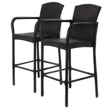 Mesh Patio Chair 2 Pcs Rattan Bar Stool Set High Chairs Outdoor Chairs Outdoor