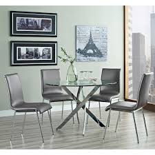 euro style hydra 5 piece dining set with draco chairs gray