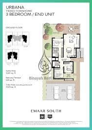 urbana emaar south 2 bedroom townhouse ground floor plan urbana emaar south 3 bedroom townhouse ground floor plan