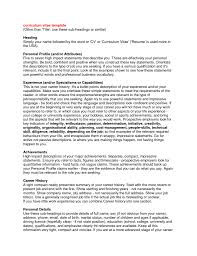 Resume Profile Section Examples by Resume Personal Profile Statement Examples Free Resume Example