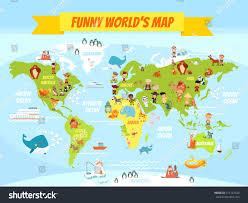 Kids World Map Funny Cartoon World Map People Various Stock Vector 315147329
