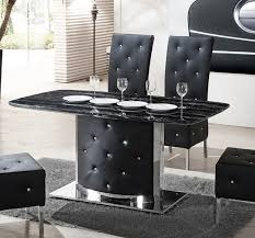Serene Black Marble Finish Dining Table And  Chairs - Black dining table for 4