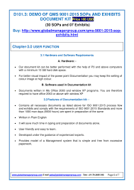 documentation sop u0026 exhibits for iso 9001 2015 pdf flipbook