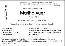 Martha Auer - Trauer - Traueranzeigen \u0026amp; Nachrufe - badische- - 111136302-p-1024_768