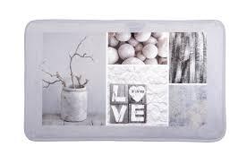 nature et deco tapis de sol gris touché doux décor nature love 45x75cm design