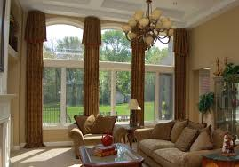 astounding living room design with large window treatments combine