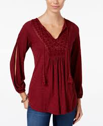 Beautify Worldwide by Jessica Simpson Frida Embroidered Peasant Top Peasant Tops