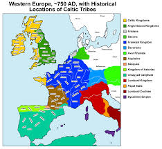 Western Europe Political Map by Historical Locations Of Celtic Tribes In Western Europe In 750 Ad