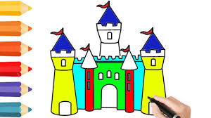 coloring pages disney castle u0026 drawing for children how to color