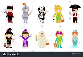 Kids Skeleton Halloween Costumes Big Collection Cute Little Kids Halloween Stock Vector 504551713