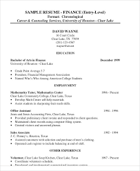 Financial Resume Sample by Finance Resume Examples 28 Word Pdf Documents Download Free
