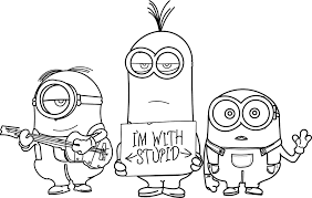 minions hd i am with stupid coloring page wecoloringpage