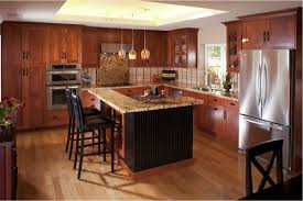 Marble Kitchen Designs Cherry Wood Kitchen Cabinets With Black Granite Brown Varnished