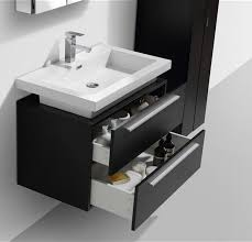 Black Wall Mount Modern Bathroom Vanity With Vessel Sink - Black bathroom vanity with vessel sink