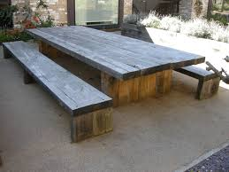 Building Plans For Picnic Table Bench by Garden And Patio Large And Long Diy Rustic Solid Wood Picnic Table
