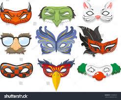 halloween costume mask halloween costume mask cartoon illustration icons stock vector