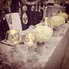 Silver Centerpieces For Table Crystal Silver Bling White Decor For Head Table U0026 Cake Table