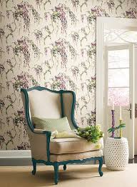 lovebirds wallpaper in purple and cream design by carey lind for
