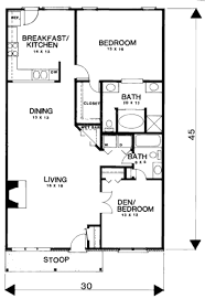 2 Bedroom 1 Bath Floor Plans Country Style House Plan 2 Beds 2 00 Baths 1350 Sq Ft Plan 30 194