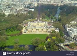 Home Of Queen Elizabeth Aerial View Of The Gardens At The Rear Of Buckingham Palace In