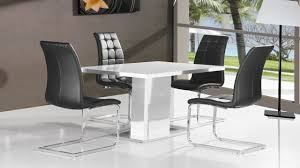 Pure White High Gloss Dining Table   Black Chairs Homegenies - Black dining table for 4