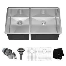 KRAUS Undermount Stainless Steel  In  Double Basin Kitchen - Kitchen sink plumbing kit