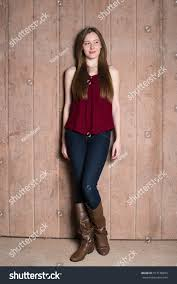 beautiful teen red top against stock photo 517148893