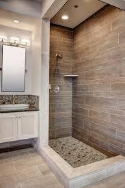 bathroom shower subway tile master bath room wood accent wall