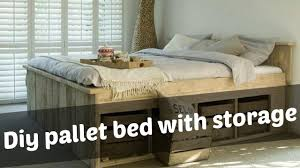 How To Build A Full Size Platform Bed With Drawers by Diy Pallet Bed With Storage Ideas Youtube
