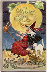 Vintage Halloween Printables by Vintage Halloween Witch Image With Moon Man The Graphics Fairy