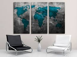 World Map Canvas by Abstract Teal World Map Canvas Print Wall Art 3 Panel Split