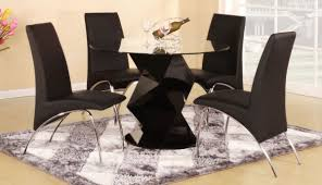 modern round black high gloss clear glass dining table u0026 4 chairs