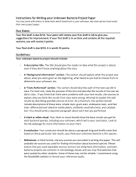 paper for writing instructions for writing your unknown bacteria project paper due