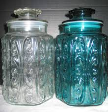 Clear Canisters Kitchen 2 Vtg Imperial Glass Atterbury Scroll Clear U0026 Aqua Blue Canister